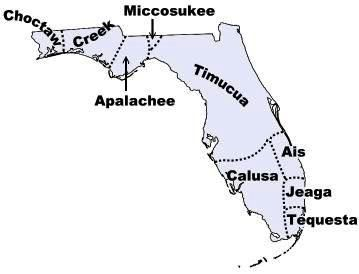 chart of historic Florida Indian locations