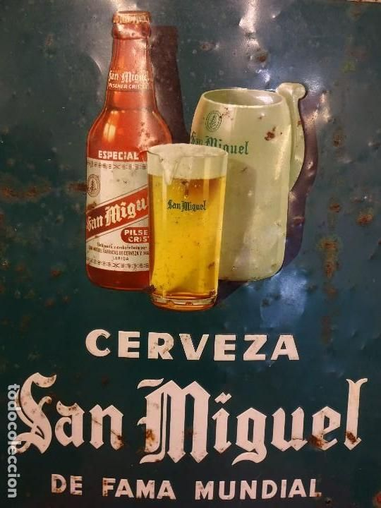 Cerveza SAN MIGUEL. Chapa hojalata litografiada. Andreis. Badalona. 70 x 50 ctms.. Algo de óxido. - Foto 1