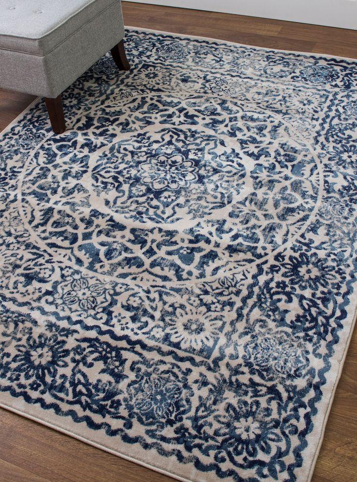 Transitional Rug Ivory & Blue High Quality Carpet Nylon