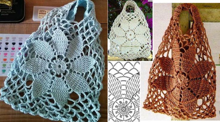 Bolsa tejida al crochet con patrones - Manualidades Y DIYManualidades Y DIY