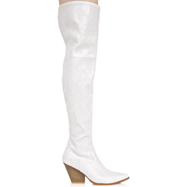 White Snakeskin Thigh High Boots ($54) ❤ liked on Polyvore featuring shoes, boots, over-knee boots, white thigh high boots, white snakeskin boots, snakeskin boots and over the knee boots