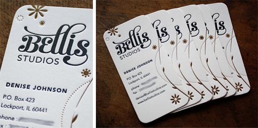 Drool...gorgeous letterpress business cards!  - Designed by www.bellisstudios.com : Business Nam Cards, Cards Design, Biz Cards, Letterpresses Business Cards, Letterpress Business Cards