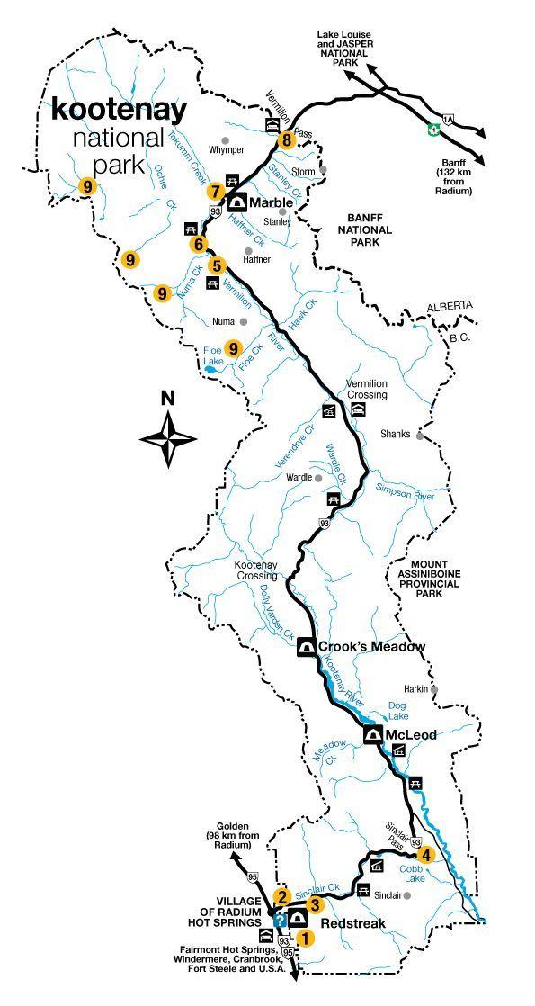 Map of Kootenay National Park © Parks Canada