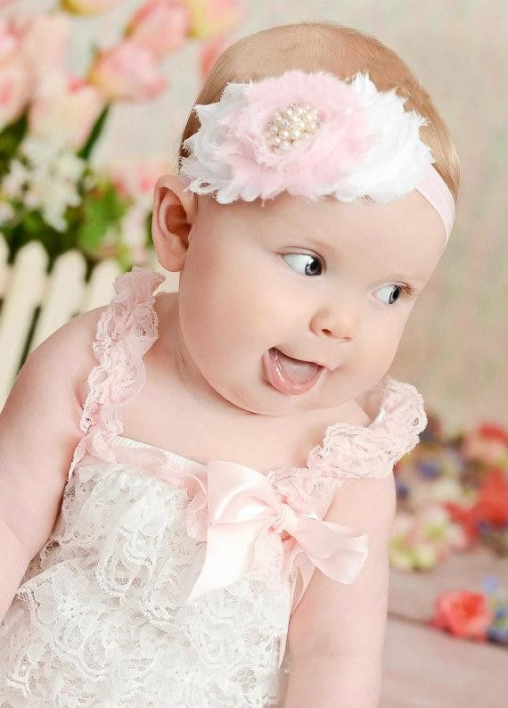 Elegant Shabby Vintage Pink and White Baby Headband