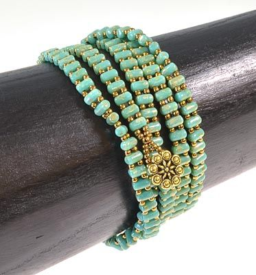 Two-Hole Rulla Wrap Bracelet Tutorial (no tutorial available there - only a photo and materials list)