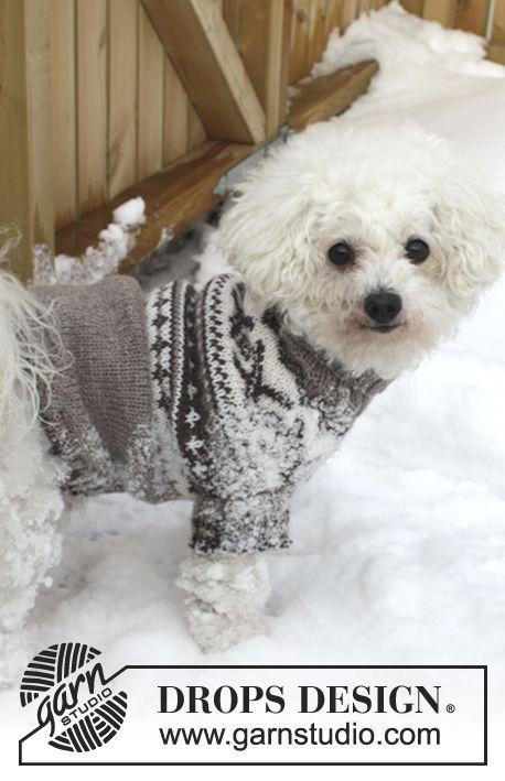 """Gebreide DROPS honden trui met Noors patroon van """"Karisma"""". Maat XS - L."""