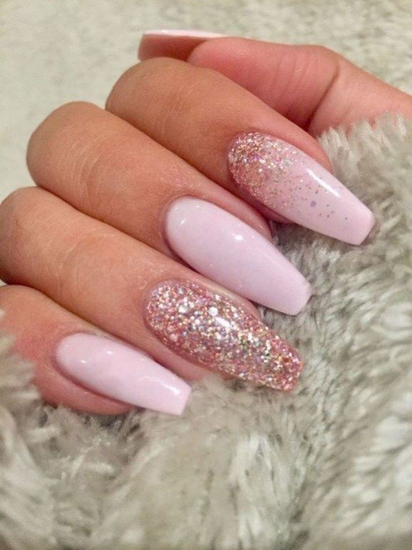 99outfit Com Fashion Style Men Women Pink Glitter Nails Coffin Shape Nails Baby Pink Nails