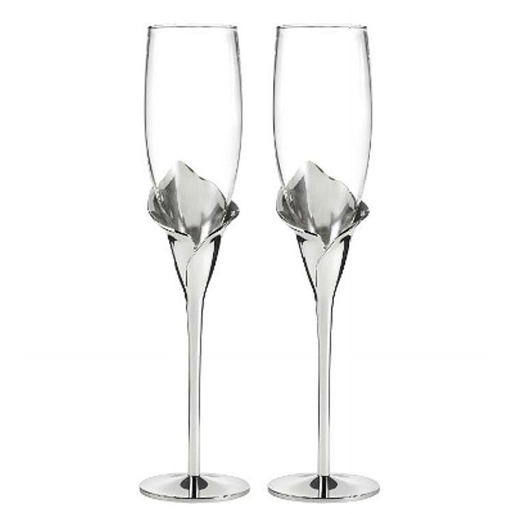 Beautiful Calla Lilliles Champagne Toasting Flutes Set Of 2