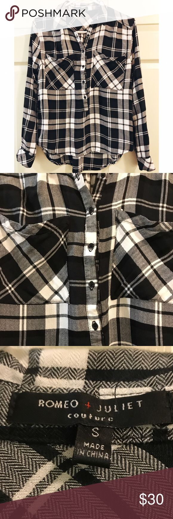 Romeo & Juliet Couture • Flannel Tunic Romeo & Juliet Couture • Flannel Tunic. Beautiful soft black and white plaid. Size small. Cute for back to school, or just to wear with shorts in the summer! Romeo & Juliet Couture Tops Tunics