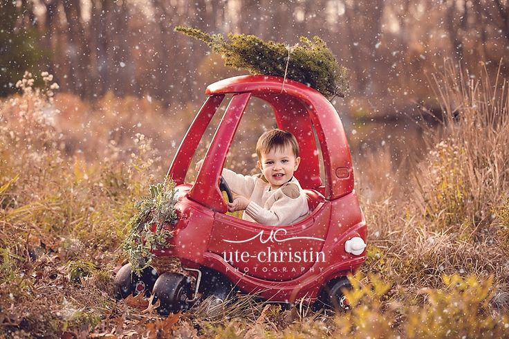 little tykes car with a christmas tree - christmas card image