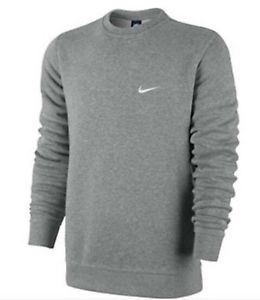 Mens Nike Fleece Sweatshirt Classic Crewneck with Nike Logo Large Gray Supreme | eBay