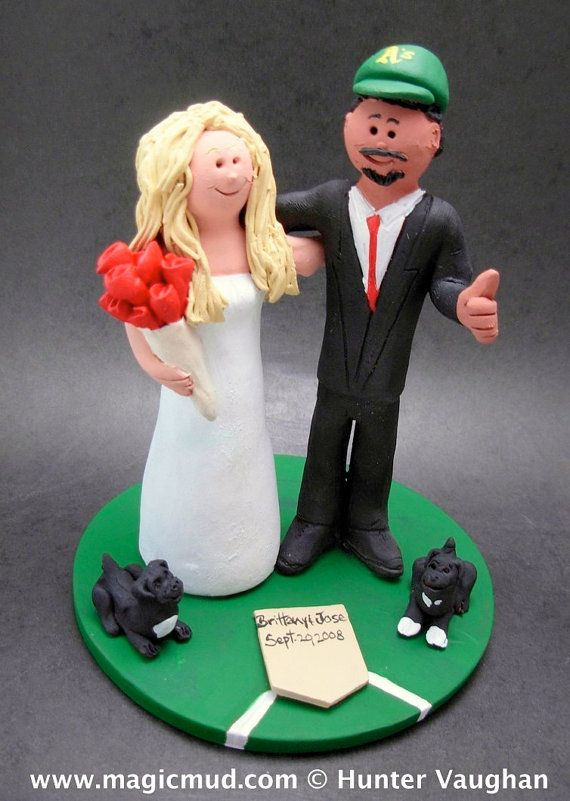 Oakland As Baseball Wedding Cake Topper For MLB Fans Custom Created