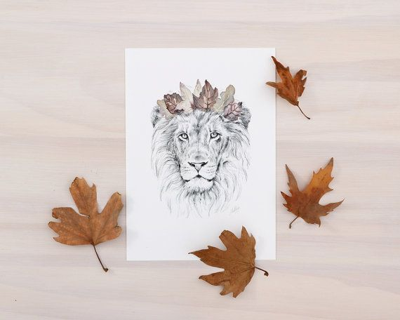 Leeuw-art print  dierlijke kunst afdrukken van door MillieArtStudio