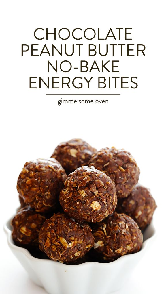 Chocolate Peanut Butter No-Bake Energy Bites -- quick and easy to make, and naturally sweetened with honey | gimmesomeoven.com