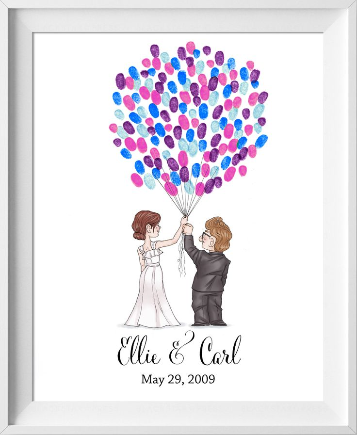 Disney Up Wedding Guestbook! Carl and Ellie holding balloons. Similar to a fingerprint tree or thumbprint tree style. Disney Pixar Up Guest book