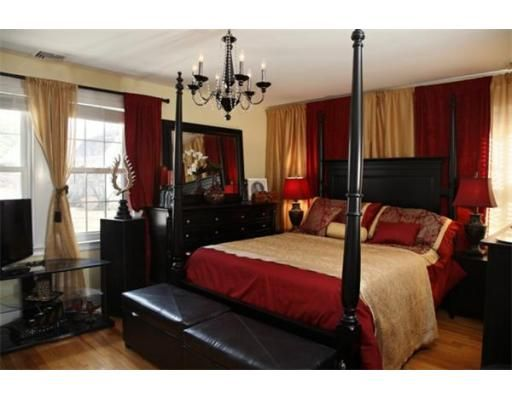 Best 25 red master bedroom ideas on pinterest red for Red and gold bedroom designs