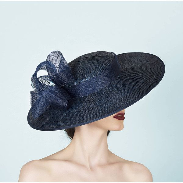 Brimmed hat for weddings, race days and garden parties. Couture... ($345) ❤ liked on Polyvore featuring accessories, hats, brimmed hat, navy blue fascinator hats, navy straw hat, navy hair fascinator and navy blue straw hat