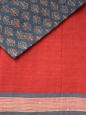 Malkha is pure cotton cloth made directly from raw cotton in the village close to cotton fields and combines traditional Indian principles of cloth making with modern small-scale technology. The name Malkha was made up by combining the first syllables of mulmul and khadi.  Malkha fabric is soft, it breathes, absorbs, holds colour, reflects its handmade heritage in its texture. Malkha is porous and Khadi like in its texture. This hand printed Malkha saree is perfect for this Summ