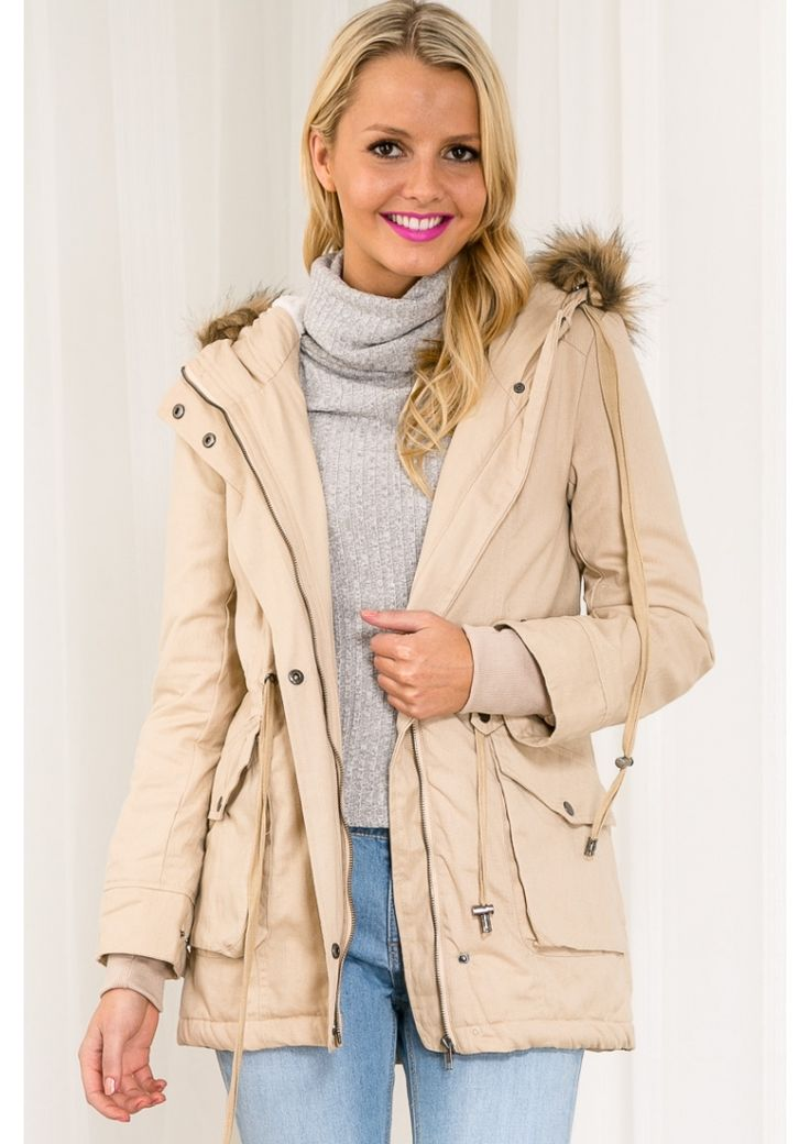 Jelly Drop Cookies Womens Anorak Hooded Jacket - Beige $85.95 Free Express Shipping