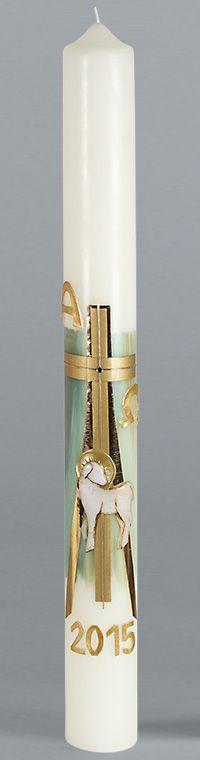 Osterkerze, Motiv: 1783, Kreuz, gold, Lamm, ohne Nägel