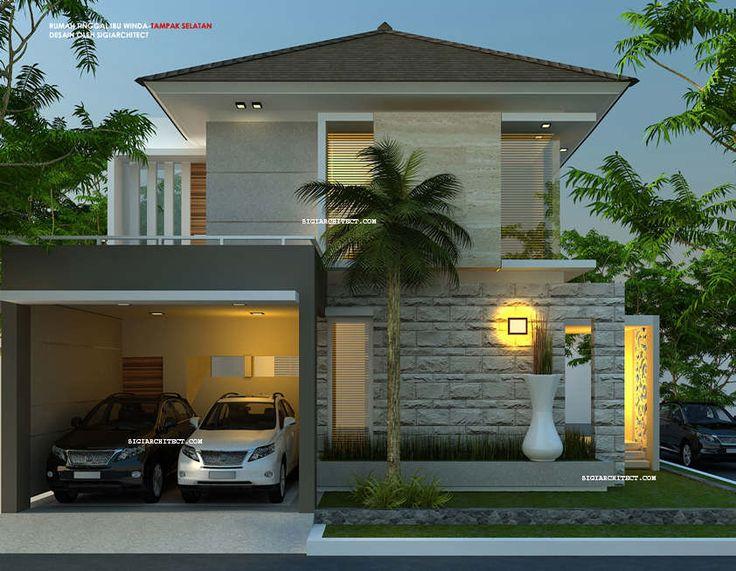 Model Rumah Hook 2 Lantai 15 X 13 M2, berdiri diatas lahan sudut/ kavling pojok, desain rumah bernuansa minimalis tropis, alami dengan batu alam natural