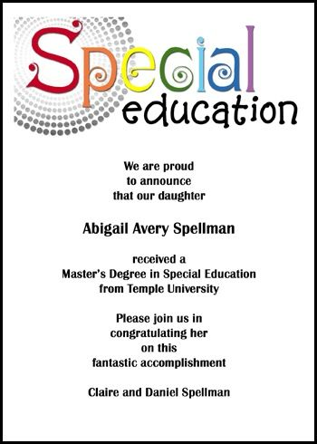 personalize your cheap graduation invitations for special ed ceremony and unique special education graduate announcements for special needs grads commencement at GraduationCardsShop, number 7597GCS-OT, discounted to .79 cents