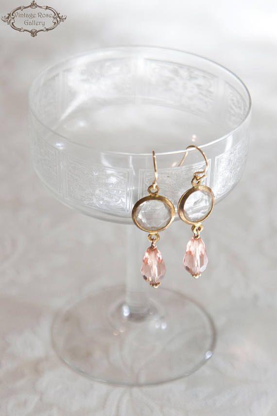 Vintage Style Earrings - Romantic earrings - Bridal earrings - Crystal Earrings - Pink Earrings - Teardrop Earrings - Christmas gift - Elegant Earrings Features Pink Czech Teardrop crystal beads, bronze vintage settings with clear crystals . Sterling silver 925