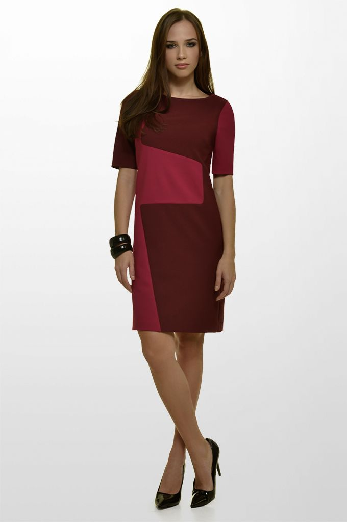 Sarah Lawrence - short sleeve dress with combination of two colors.