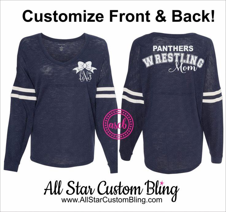 Wrestling Mom VNeck Slub Pom Pom Jersey, Custom Wrestling Mom Jersey Shirt