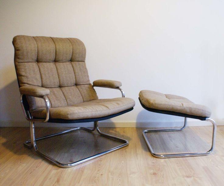 Vintage design fauteuil met hocker. Retro buisstoel/Dux