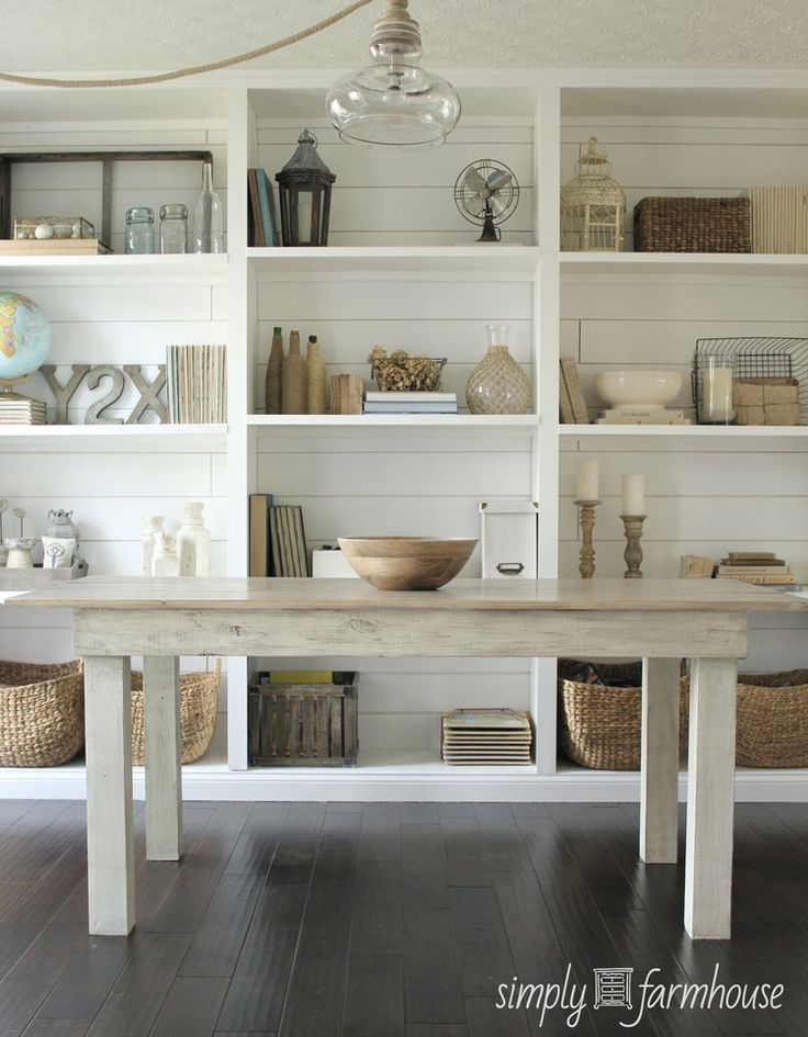 White Room: farm table, open shelves, plank walls; pretty open shelving