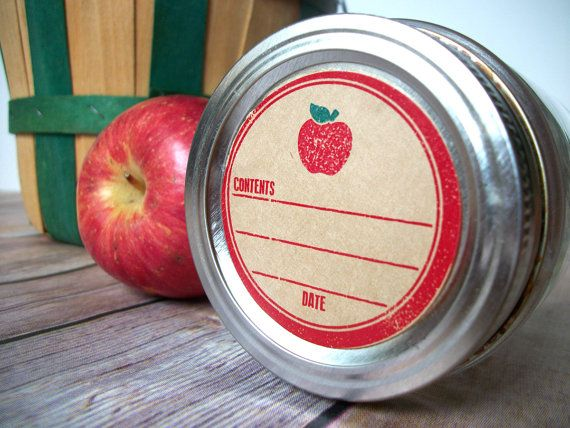 Rubber Stamp Apple Kraft Paper Canning Jar labels, 2 inch rustic round red mason jar stickers, jam jar labels, applesauce canning jar label, CanningCrafts, Etsy $6