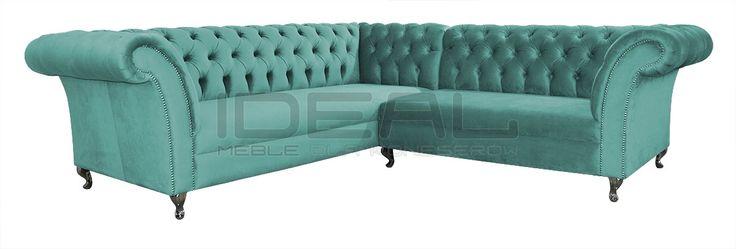 Piękny turkusowy narożnik Chesterfield (turquoise Chesterfield Corner sofa) Sofy Stylowe - Narożnik Chesterfield Avon Ludwik - Ideal Meble