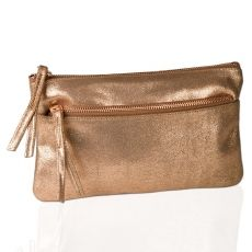 LUNA Pochette   Small shiny leather clutch in fashionable rosegold. The Pochette in soft patent leather with cool zippers makes a clear fashion statement. Thus only available through us.TASCHEN > IM TREND-TRIXI GRONAU CONCEPT STORE €79.00