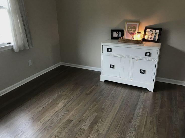 Our Coastal Farmhouse Weathered Gray Hardwood Floors White Oak Stained 60 40 Minwax Classic Gray Oak Wood Floors White Oak Floors Refinishing Hardwood Floors