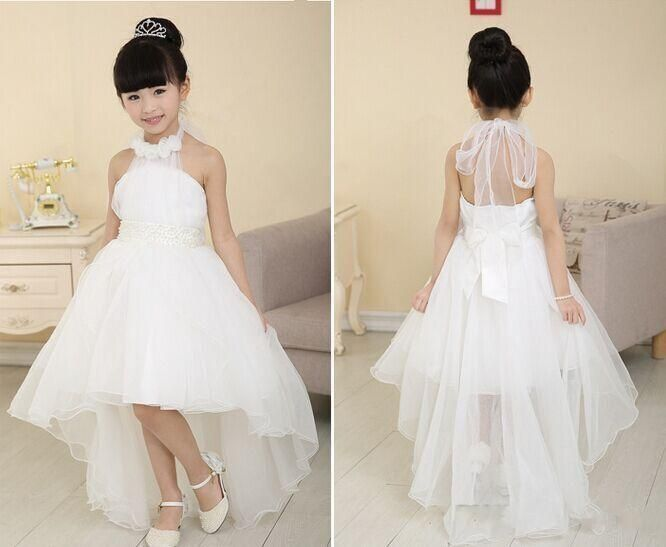 Cheap Flower Girls Dresses White High Low Kids Formal Wear Halter Little Girls Pageant Girl Dress Organza Ball Gowns With Flowers