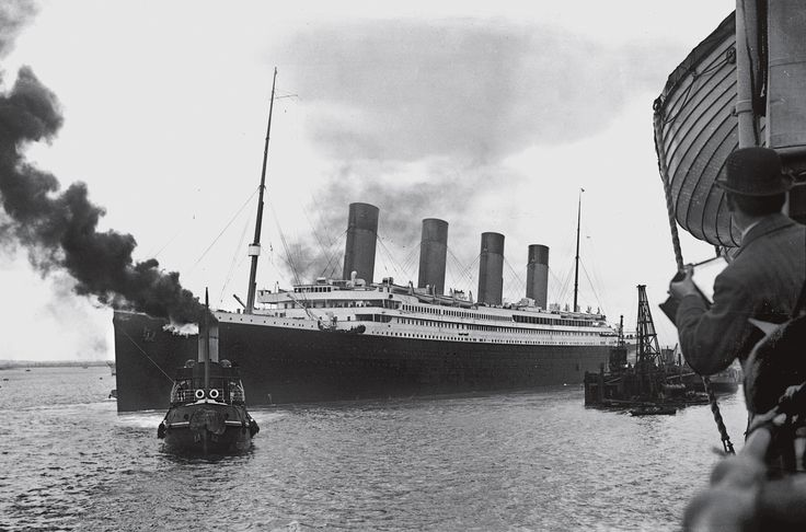 """As a tugboat guided the Titanic out of Southampton, photographers recorded the moment from a nearby ship. Five days later this symbol of the gilded age lay at the bottom of the North Atlantic. """"It's one of those stories that will always be told,"""" says explorer Robert Ballard.  PHOTOGRAPH © NATIONAL MUSEUMS NORTHERN IRELAND, COLLECTION HARLAND AND WOLFF, ULSTER FOLK & TRANSPORT MUSEUM"""
