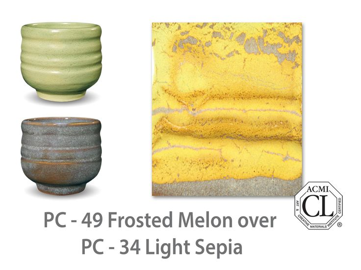 AMACO Potter's Choice layered glazes PC-34 Light Sepia and PC-49 Frosted Melon.