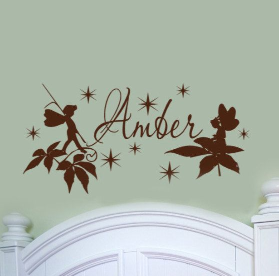 Fairy Wall Decal With Personalized Kids Name Monogram Cute Star Dust Sparkles And Leaves For Girls