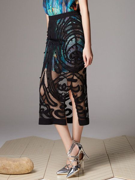 Beaded Lace Slit Midi Skirt