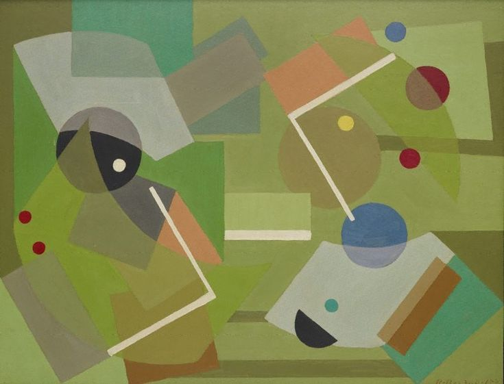 Construction in Green. Artist: Ralph Balson - oil on paperboard, 1942
