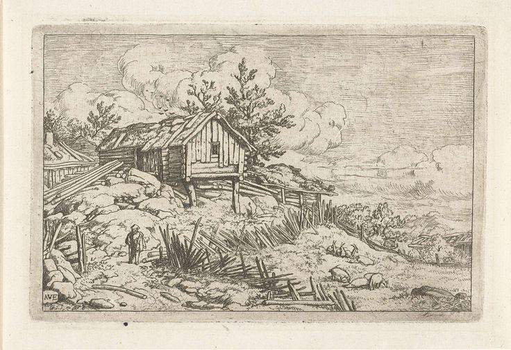 Wandelaar bij vervallen omheining, Allaert van Everdingen, 1631 - 1675