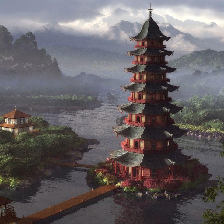 Chinese Pagoda Architecture : Chinese Great Pagoda At
