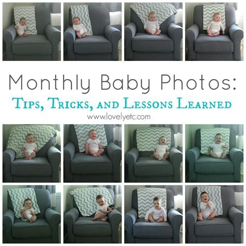 Monthly Baby Photos - lots of great tips for taking monthly photos of your baby that you will really show your baby's growth the first year.