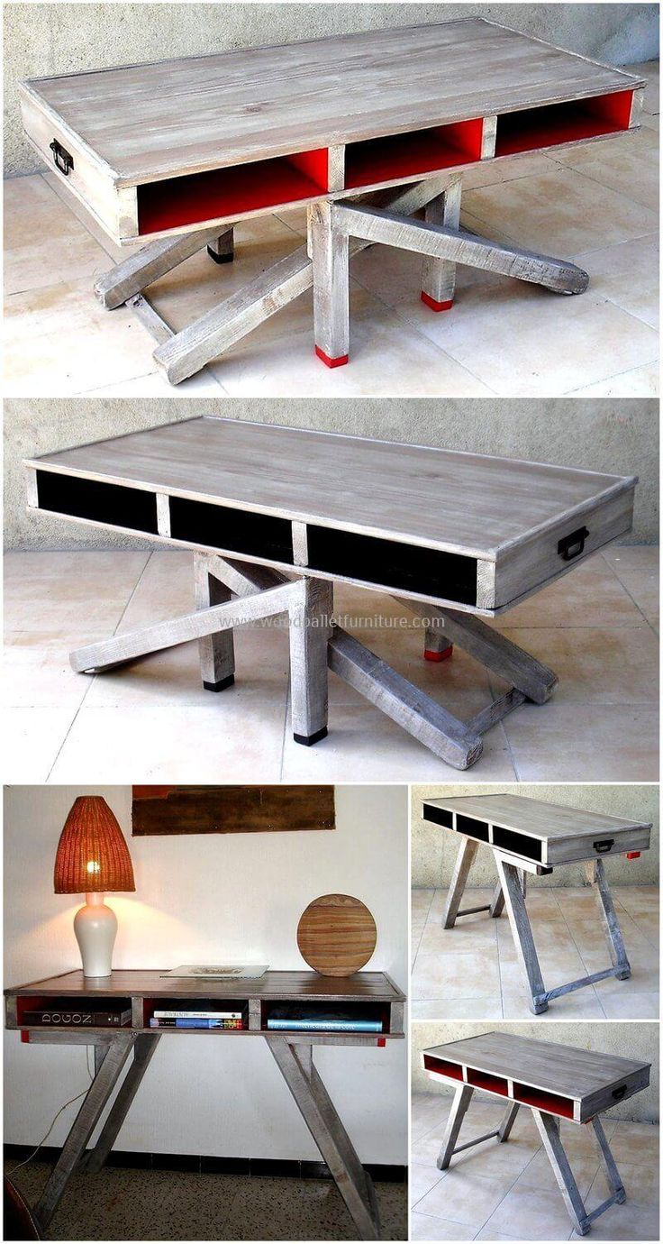 We are presenting here another extraordinary pallet made an adjustable table for your ease. We have designed this pallets table with upcycled wood pallets and the most wonderful thing in this creation is that you can easily adjust it size as according to your needs. You can increase its height for placing your items as well as can decrease it for serving food to your family members.