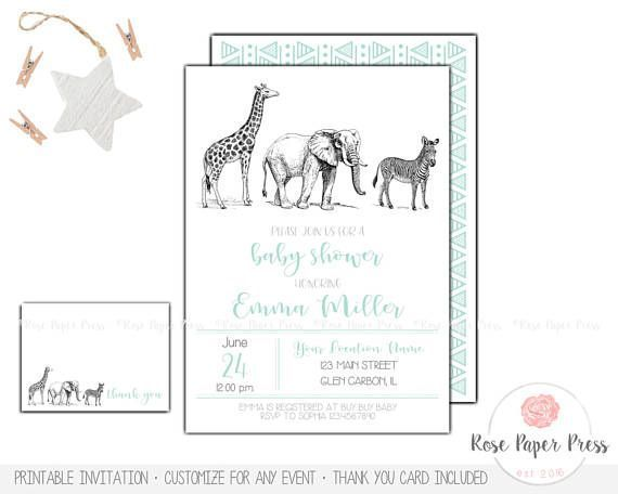 Zoo Baby Shower Invitation Set | Custom Printable Invitation | Safari Baby Shower | Jungle Baby Shower | Thank You Card | Animal Invitation  This invitation is an original design of Rose Paper Press, personalized for your event. All colors, wording, and font can be customized. This is a high-resolution (300 dpi) digital file ready for you to print yourself. You will not receive any printed items with this purchase.  | WHAT'S INCLUDED | • Baby Shower Invitation – 5x7 size • Thank You Card