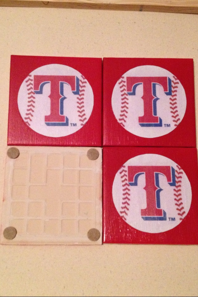 texas rangers coasters set of 4 by entrepreNORA on Etsy, $10.00