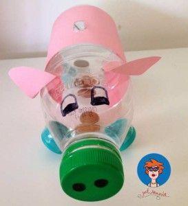 Spaarpot van een plastic fles - knutselen - Juf Jannie Uitleg met foto's op mijn website.