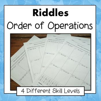 Order of Operations Riddles 5.OA.1 and 6.EE.1