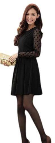 Amazon.co.jp: JapaNice ドット柄シースルー長袖Aラインパーティードレス Mサイズ 【黒色 かわいい お姉系ファッション パーティードレス 結婚式 上品綺麗ワンピース】: 服&ファッション小物通販